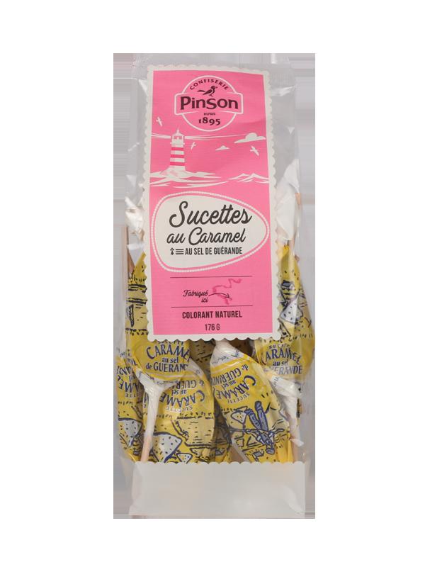 16 Sucettes au caramel et sel de Guérande Pinson
