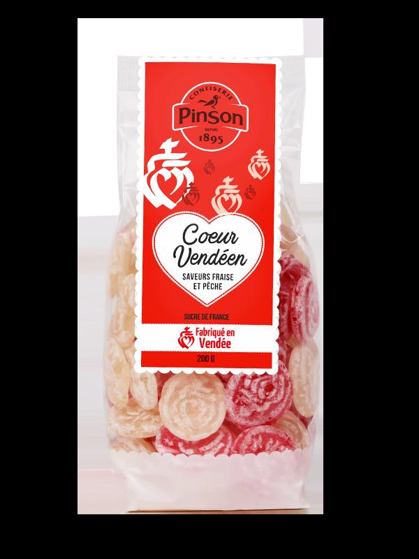 Coeur vendéen fraise pêche 200g Confiserie Pinson