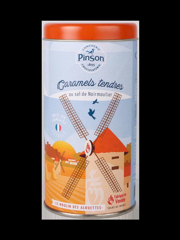 Boite fer orange le moulin des alouettes caramel tendre